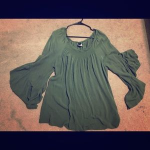 Tops - Plus size ruffle bell sleeve blouse